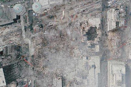 this is an overhead shot of ground zero - but it looks a lot like an anselm kiefer painting, a number of which you can see if you click ahead